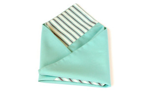 Pocket square Mint Mint and White Stripes  Matching Hanky  Mint Mint and White Stripes SALE