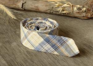Air Force Blue and Buff plaid Tie  Men's skinny tie  Wedding Ties  Necktie Seersucker Plaid  SALE