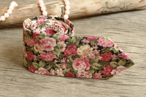 Floral Olive Wedding Tie   Men's skinny Pink Roses tie   Necktie for Men Special Order