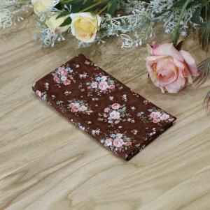 Pocket square Dark Brown floral  Matching Hanky Floral Pink Flowers Men's handkerchief  Wedding Ties Bridal Rose Reddish brown Special Order