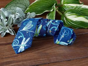 Tie Dragonfly Metallic Dark Blue Mint Green Men's skinny tie Dancing Dragonflies Midnight Blue Wedding Ties Gold Necktie Special Order