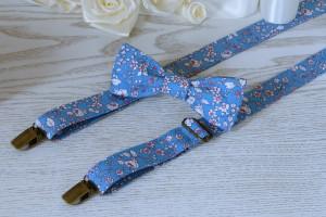 SUSPENDER and BOWTIE SET  Floral Tie Light Blue  Floral Alaskan Blue Wedding Suspenders   Floral Men's Suspenders  Groomsmen Bow Tie