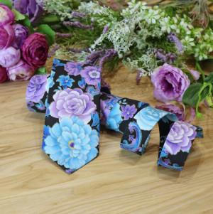 Floral Tie Metallic Purple Blue Roses Men's skinny tie Violet Metallic Gold  Wedding Ties 100% Cotton Special Order