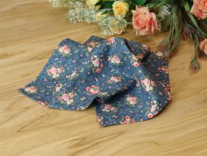 Pocket square Dark Steel Blue Matching Hanky  Floral Pink Flowers Men's handkerchief Coral Wedding Ties Bridal Rose Carmine Special Order