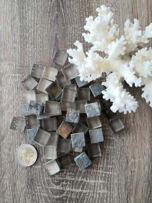50 mix gray Glass Mosaic Tiles and stone, glass mosaic gradient gray color, unique mosaic of hot glass, diy home decor, diy mosaic decor
