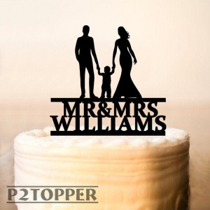 Wedding Cake Topper with little boy, Mr and Mrs Cake Topper, Family Cake Topper,Wooden Wedding Cake Toppers with Children,Cake Topper (0392)