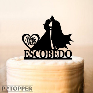 Batman Cake Topper,Wedding cake topper,Batman and Bride Cake Topper,Weddings Batman Silhouette Cake Topper,Personalized Cake Topper (0285)