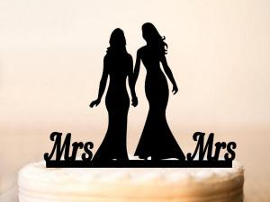 Lesbian Cake Topper,Wedding Lesbian,Mrs and Mrs Cake Topper,Lesbian Wedding Silhouette Cake Topper,Lesbian Cake Decoration,Same Sex (0100)