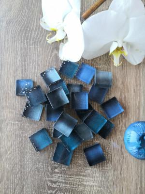 25 blue Glass Mosaic Tiles, glass mosaic gradient denim color, unique mosaic of hot glass, diy home decor, diy mosaic decor
