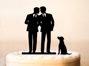 Gay Cake Topper + DOG, Same Sex Cake Topper, Gay Wedding Cake Topper,Gay silhouette,Homosexual,Wedding Cake Topper For Men, mr and mr (0065)