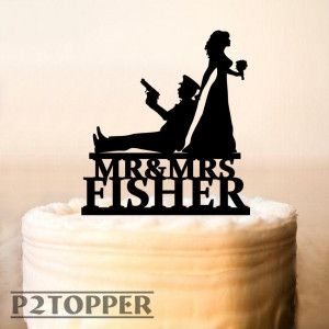 Personalized Policeman and Bride Wedding Cake Topper, Police Officer Wedding Cake Topper,Wedding Cake Topper Police Man,Shower Topper (0311)