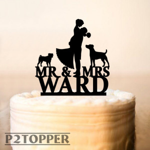 Wedding cake toppers with dogs,Wedding cake topper,Mr and Mrs cake topper + dogs,Silhouette cake topper with two dogs,dogs Silhouette (0289)