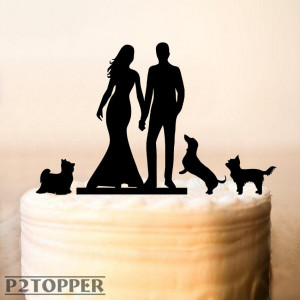 Cake Topper With Three Dog,Wedding Cake Topper With Dog,Personalized Silhouette Cake Topper With Dog,Mr and Mrs Cake Topper (0121)