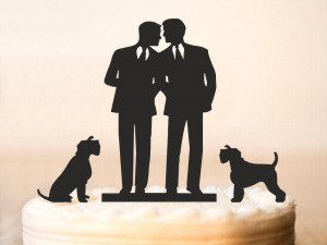 Gay Wedding Cake Topper wiht Two DOG,Same Sex Cake Topper,Gay Cake Topper,Gay silhouette Homosexual Wedding Cake Topper For Men Gift (0062)