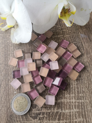 50 mix pink beige mini Glass Mosaic Tiles, glass mosaic pink beige color, unique mosaic of hot glass, diy home decor, diy mosaic pink decor