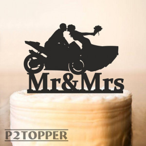 Motorcycle Couple Wedding Cake Topper,Motorcycle Cake Topper,wedding cake topper bride and groom,Wedding Bike Cake Topper,Wood Topper (0215)