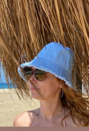 Women's light blue denim bucket  hat, fashion travel hat, women's bucket sun protection hat, denim bucket hat with a disheveled edge, fringe