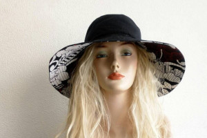 Woman Black sunset hat with wide brim, cotton Sun hat, travel hat, wide brim summer hat, cotton sunhat, beach wear,  Active style woman hat