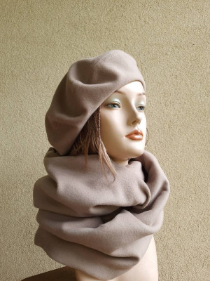 Women cashmere beret and women cashmere scarf, women set head accessories
