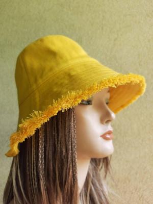 Women's  yellow denim bucket sun hat, fashion travel hat, women's bucket sun protection hat, denim bucket hat with a disheveled edge, fringe