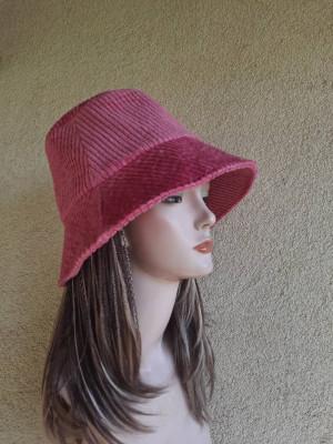 Pink cotton velvet bucket  hat, fashion teen travel hat,  spring wear hat, fashion women's hat, fashion girl's hat, unisex hat,gift for teen