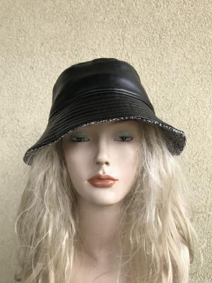 Black vegan leather bucket hat, women's fashion vegan leather hat, rain hat