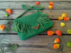 Handy, stylish and roomy green leather fringe fashion clutch bag, woman leather green fringe bag free shipping, flamingo item, tropical item