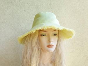Women's yellow linen sun protection hat, summer hat, sun protection clothes,  travel hat, active wear, lemon sun hat
