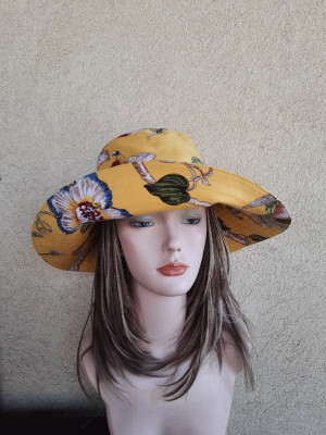 Women's cotton yellow sun hat with wide brim,  tropical travel hat, large cotton hat for beach,  large cotton fabric flowers hats for woman