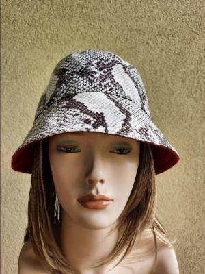 Snake vegan leather rain bucket hat, women travel hat, snake bucket hat, leather hat,  leather rain style  hat, women fashion bucket hat