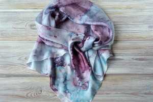 Marsala silk shawl for women- blue purple silk hand painted shawl - 35x35in, monogrammed and personalized