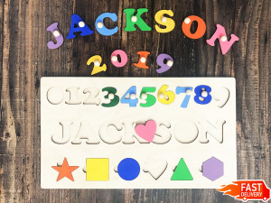 Kids Name Personalized Learning board Educational toys Travel puzzle busy board Wooden puzzle children Wooden board numbers Gift 1 year old