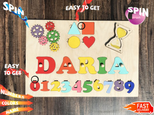 Name Busy Puzzle With Pegs Wooden Numbers Baby Shower Gift Baby Puzzlewood Montessori toys Busy board Gift for Godchild 1st Birthday Baptism
