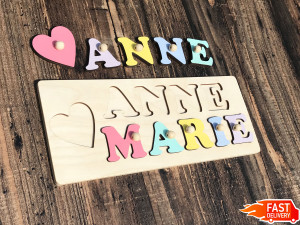 Girls Personalized wooden name puzzle Montessori toys Busy board Baby Name Sign Custom Gift for Godchild 1st Birthday Baptism Custom Toddler