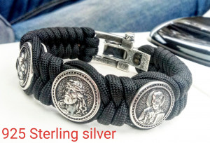 Paracord bracelet with Silver 925 Sterling beads Jesus Christ, Saint Nicholas, Virgin Mary. Easter gift.  Luxury style. Baptism gift.