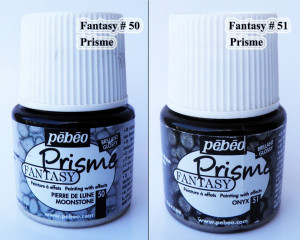 Pebeo Fantasy Prisme honeycomb effect acrylic paint # 50 Moonstone or # 51 Onyx Opaque colours textured effects Pearlescent finish paint A9F