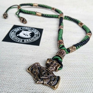 Mens necklace. Paracord necklace with beads. Mens Choker. Mjolnir necklace. Celtic knot. Nordic necklace.