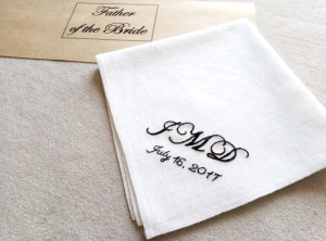 Wedding handkerchief for father of the bride, father of the groom and best groomsmen