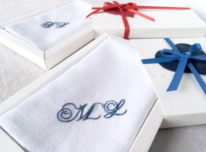 Unique wedding gift for couple, Personalized gift, Monogrammed wedding gift, Bride and groom gift, Embroidered handkerchief, new family gift