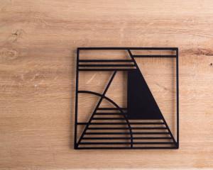 Metal trivet Geometry design //Bauhaus inspired // stylish housewarming gift // Free Shipping Worldwide
