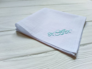 Monogrammed embroidered handkerchief, Mens handkerchief, Wedding handkerchief, Groomsmen gift, Personalised handkerchief, cotton anniversary