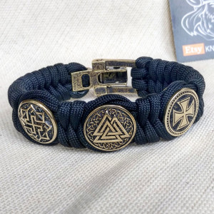 "Nordic protective amulet with steel beads ""Valknut"", ""Valkyrie"", ""Templar cross"".  Men's style, a gift for tough men. Biker bracelet."