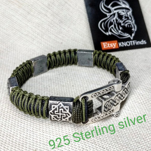 Silver 925 Sterling bracelet. Luxury green olive paracord bracelet.Viking style.