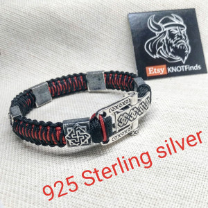 Silver 925 Sterling bracelet. Luxury black red paracord bracelet.Viking style.