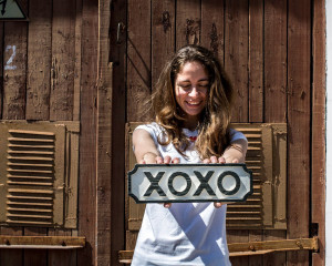 Sign XOXO wooden retro style sign // carved in salvaged wood hand painted // kid's room wall decor