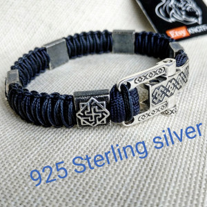 Silver 925 Sterling bracelet. Luxury navy blue  paracord bracelet.Viking style.
