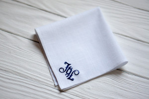 Custom embroidery wedding, Valentines gift, Embroider handkerchief, Anniversary gift for him, Groomsmen gift idea, Father of the bride gift
