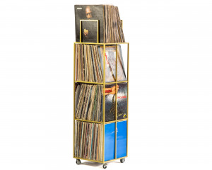 LP storage // 4 deck Album Сrate Сart Golden Meatllic // container holds around 280 LP records // free shipping