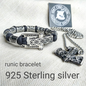 "Runic paracord and 925 Sterling silver bracelet ""VIKING"". Nordic bracelet with steel runes beads."