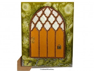 Yellow elf door Fairy door Home décor Children fantasy elves faerie elf pixies gnome Girls pixie portal Unusual handpainted fairy door A9F 3